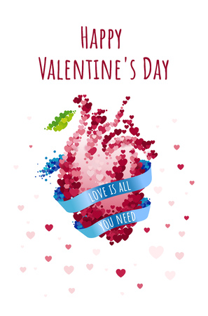 St Valentines day greeting card with blue ribbon and anatomical human heart. Love is all you need. Vector illustration collection
