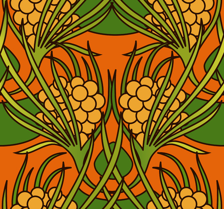 Vintage floral seamless ornament with bright colors. Sea buckthorn pattern. Middle Ages style. Vector illustration. Ilustração