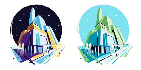 Day and night modern buildings. Abstract building architecture, cityscape town, street light. Perspective view. Vector illustration collection