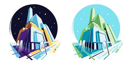 Edifici moderni diurni e notturni. Architettura astratta della costruzione, città di paesaggio urbano, luce stradale. Vista in prospettiva. Collezione di illustrazioni vettoriali