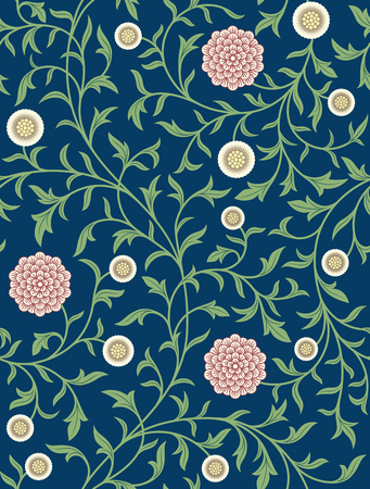 Vintage floral seamless pattern on dark background. Middle Ages style. Flowers, whip vines, branches, leafs. Vector illustration.
