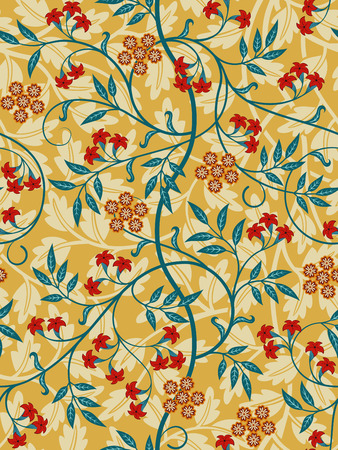 Vintage floral seamless pattern on light background. Bright colors. Middle Ages style. Vector illustration. Ilustração