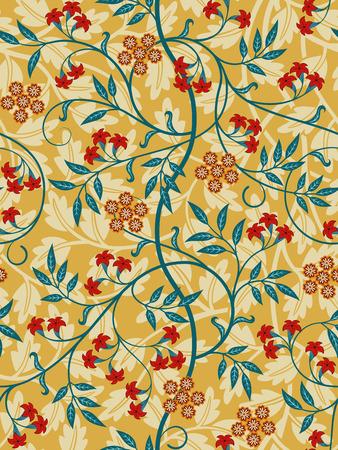 Vintage motif floral sans couture sur fond clair. Couleurs vives. A la manière du Moyen Âge. Illustration vectorielle. Vecteurs