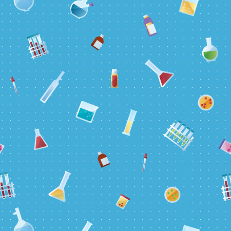 Medicine laboratory seamless pattern on blue background. Repeatable pattern with icons of pipette flask bulb pills beaker jar ampoule. Color vector illustration