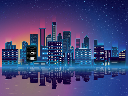 Night city with skyscrapers background. Blue background with start, water, modern buidings, skyscrapers. Vector illustration