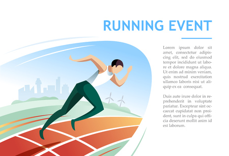 Running event. Sport and competition concept vector illustration