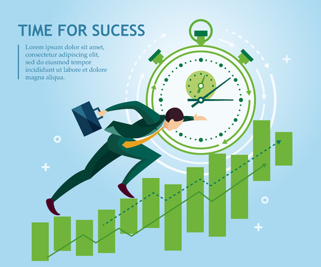 Time for success. Businessman climbs the price chart ledder on the background of the stopwatch. Business concept collection. Vector illustration Ilustração