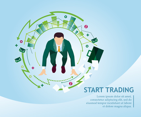 Start trading. Business concept collection. Vector illustration