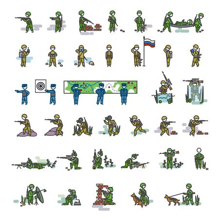 Armed soldiers in different action poses. Color vector illustration. Icon style set Ilustração