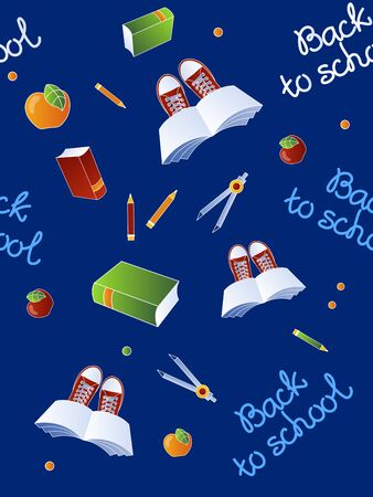 Back to school seamless pattern on dark blue background. Vector illustration. Ilustração