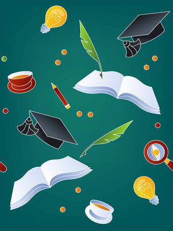 School seamless pattern on green background. Items and symbols related to school theme: idea, lamp, pencil, cup, pen, graduate cap, magnifier glass. Back to school vector illustration. Ilustração