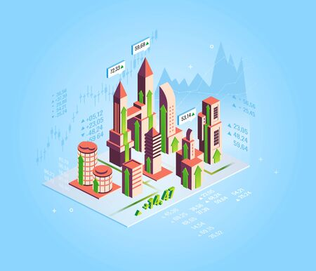 Real estate growth concept. Isometrict business city, buildings, real estate market growth skyscraper bars charts quotes. Vector isometric illustration