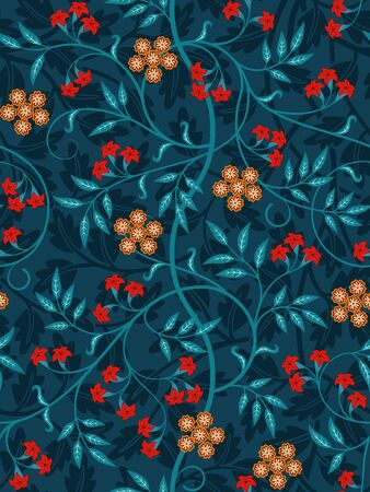 Vintage floral seamless pattern on dark background. Vivid colors. Vector illustration.