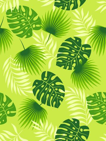Tropical green leaves seamless pattern on light green background. Vector illustration. Ilustração