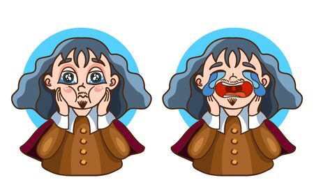 Descartes two stickers. Vector illustration