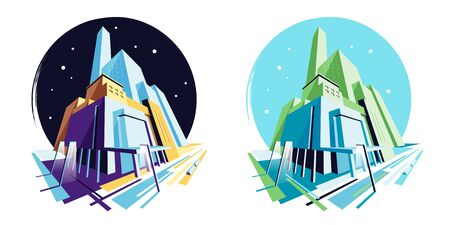 Day and night modern Moll, shopping center. Perspective view. Vector illustration collection Ilustração