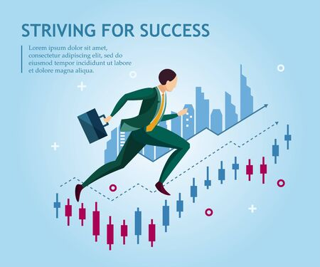 Striving for success. Business concept collection. Vector illustration