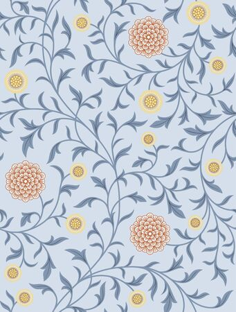 Vintage floral seamless pattern on light background. Middle Ages style. Flowers, whip vines, branches, leafs. Vector illustration.