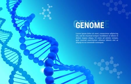 Genome abstract dark blue background template for presentation, poster, web. Color vector illustration Ilustração
