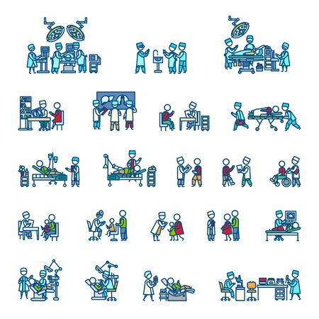 Doctors with man, woman and child patients, medical staff, equipment, surgery, laboratory, x-ray, ultrasonography. Color vector illustration. Icon style set