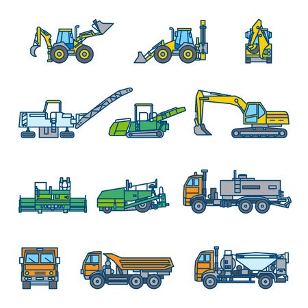 Road construction machines. Road roller, bulldozer, excavator, asphalt paver, loader, truck. Color vector illustration Icon style set