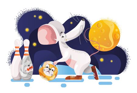 Mouse plays cat bowling for New Year 2020. Vector illustration