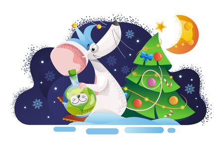 Mouse with catss toy sits near the Christmas tree. Concept image of symbol chinese happy new year 2020, mouse, rat, toy, cat, ball, moon, cheese, stars, Christmas tree, clown hat. Lunar horoscope sign. Vector illustration Ilustração