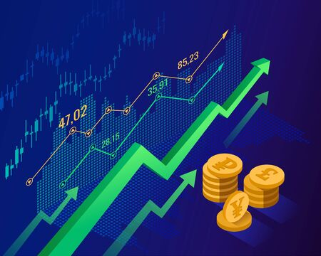 Stock market and economics growth concept for financial investment or economic trends business idea. Abstract blue isometric finance background with green arrows money coins price candlestick chart. Vector illustration Ilustração