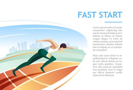 Sprinter fast start on racetrack against city background. Modern vector illustration concept Ilustração