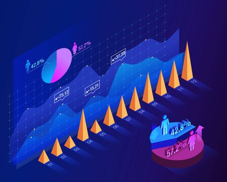 Population growth by gender. Infographic blue isometric template. Vector illustration