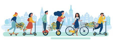 Young people in eco city. Man and woman teenagers students walking riding monocycle electric scooter bike bicycle skateboard segway transport in flat design of group people outdoor in the city. City buildings architecture. Vector illustration Ilustração