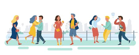Young people walks along the street by the river. Man and woman student teenager with phone hurry rushing on a date walking meeting talking hug in flat design of group people outdoor on cityscape background. Vector illustration