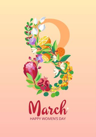Happy Women's Day greeting card. 8 March concept with eight number made with cute flowers bouquet protea magnolia leaves eucalyptus pomegranate oranges strawberry sea buckthorn berries on pink background. Template poster card postcard. Vector illustration