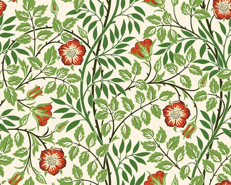 Vintage floral seamless pattern background with red roses and foliage on light background. Middle Ages style William Morris. Vector illustration.