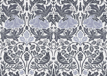 Hand drawn seamless pattern ornament with hare and bird in foliage. Vector illustration.