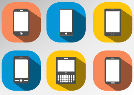 illus: flat icon mobile phone device set on blankscreen with retro color background