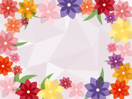 colorful flower frame with light polygon geometric abstract  background Ilustracja