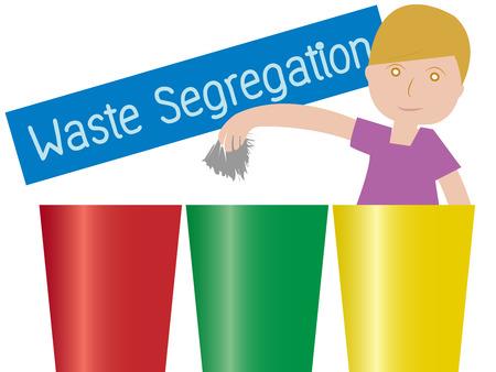 segregation: Illustration of a boy Holding a garbage Standing Beside Waste Segregation Trashs vector