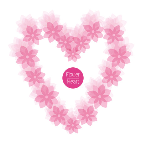vectoe: pink flower frame of heart Valentine concept of love vector