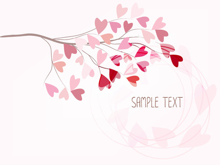 illus: branch with love of  colourful heart shape on pink background Illustration