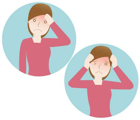 woman headache: Woman suffering a painful headache