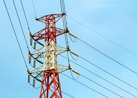 eletrical: Power tower with calbe Stock Photo