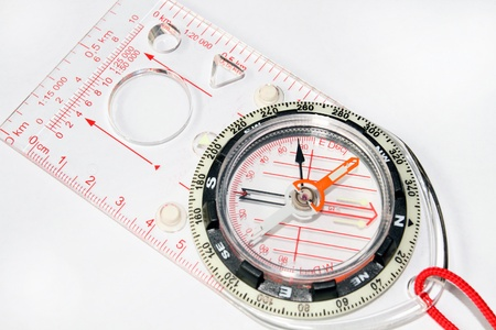 orienteering: Orienteering compass on white background Stock Photo