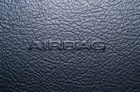 car safety: Airbag panel on the rudder of the car