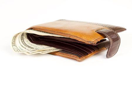 purse with dollar bills photo