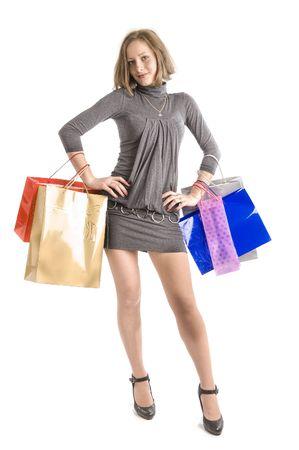 Girl shopping isolated on white background