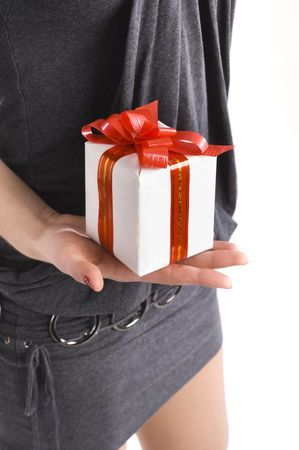 Girl with the gift isolated on white photo
