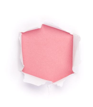 gash: Isolated Hole in paper under the color background Stock Photo