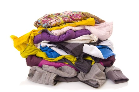 bundle: Heap of clothes on white background