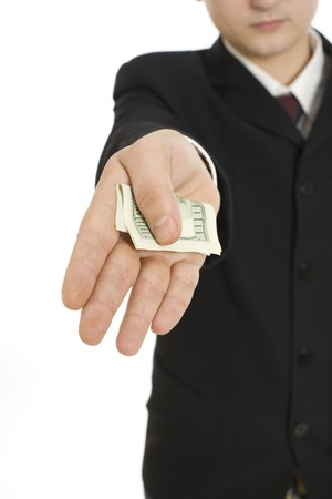 Man handing over a dollar bill isolated on white background Stock Photo